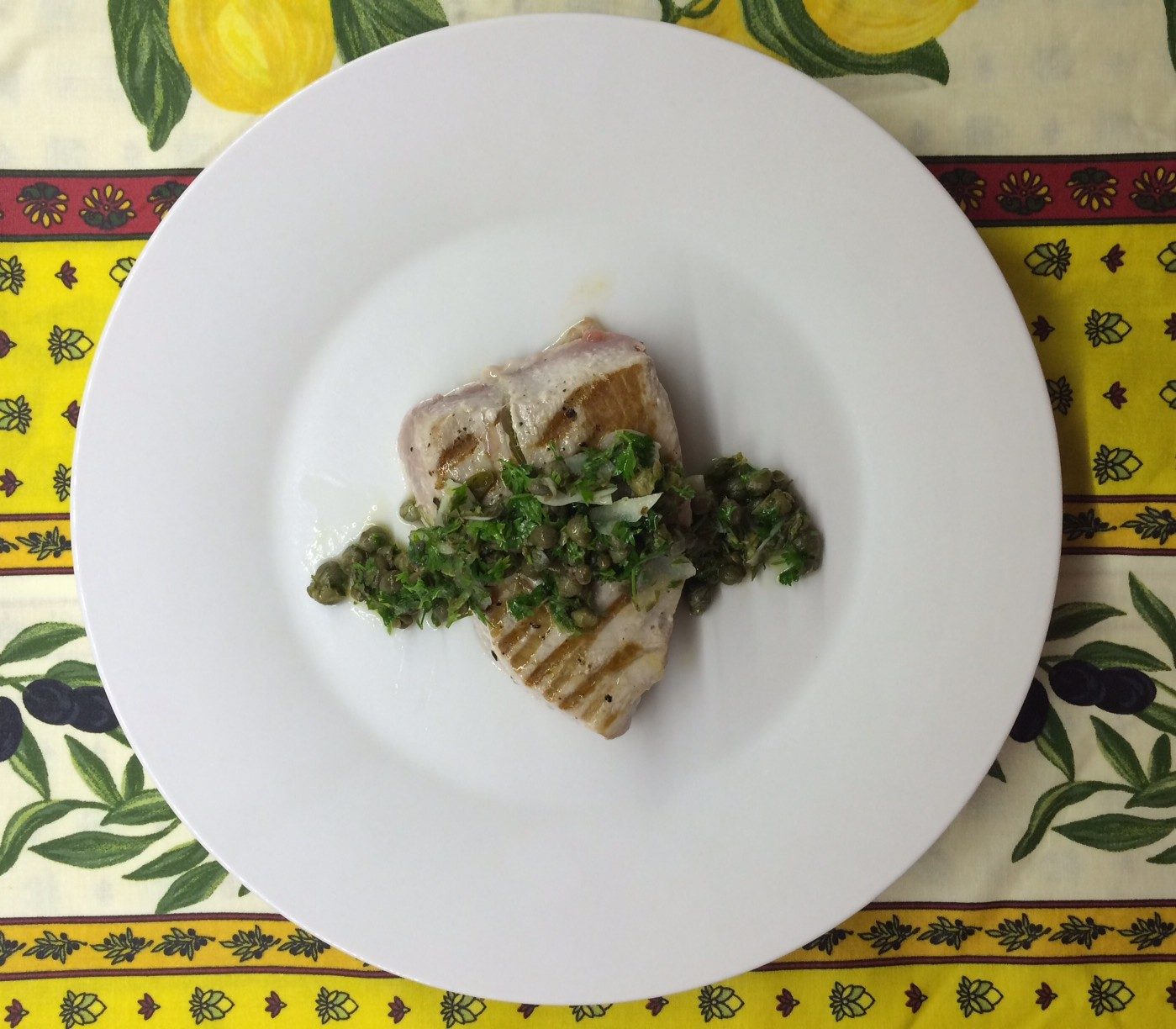 Chargrilled tuna with capers, lemon and fresh herbs