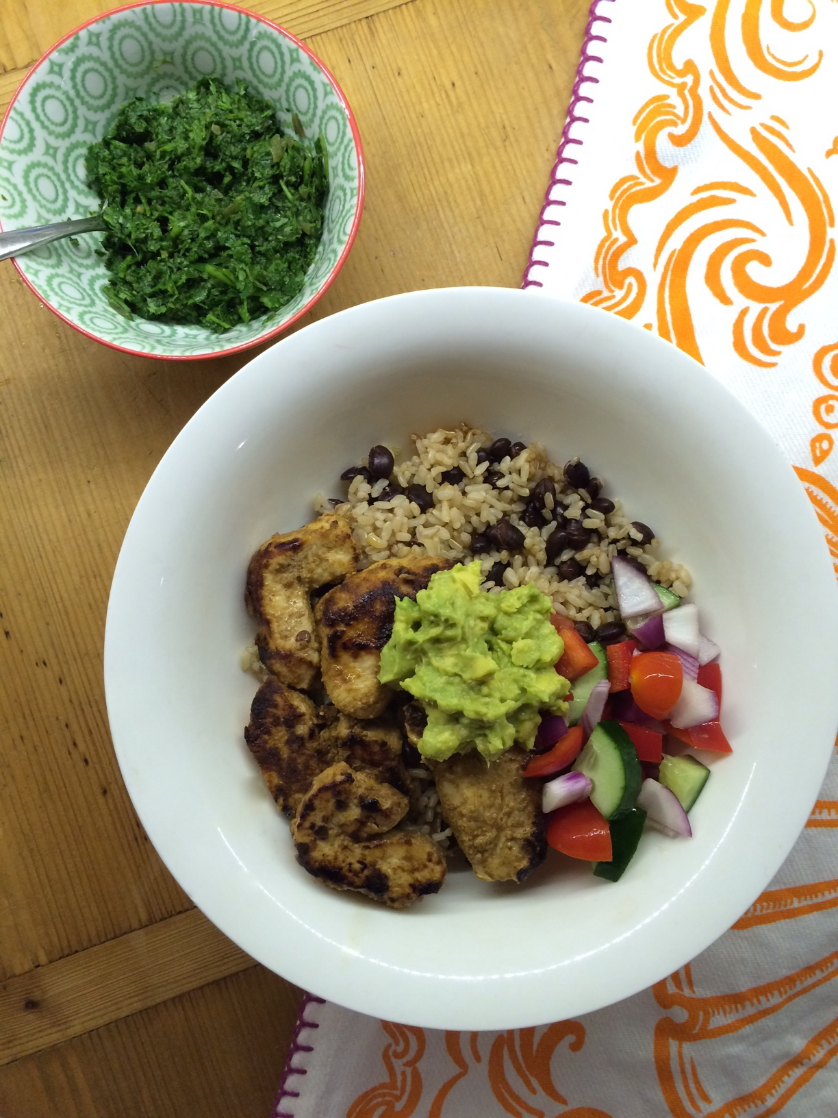 Chicken burrito bowl with the easiest green salsa